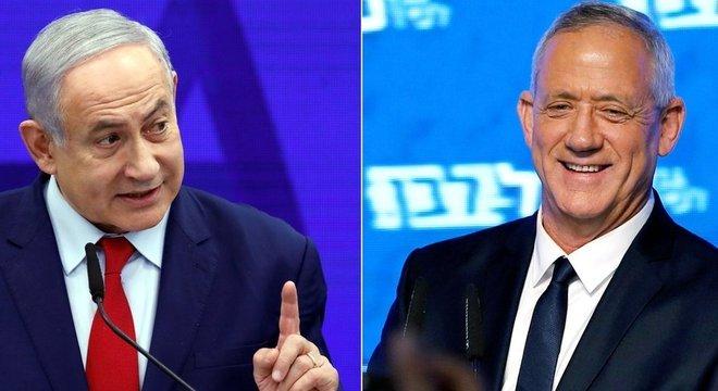 Não há uma rota clara de formação de governo, nem para Benjamin Netanyahu (esq) ou para seu rival, Benny Gantz (dir)