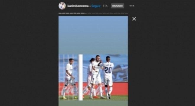 Benzema marcando Vini Jr. em foto no Instagram