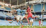 E conseguiu buscar o empate, em uma cabeçada de Benzema