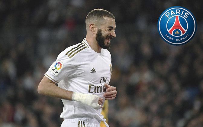 Benzema. Posição: Atacante. Idade: 32 anos. Clube atual: Real Madrid. Clube interessado: Paris Saint-Germain.