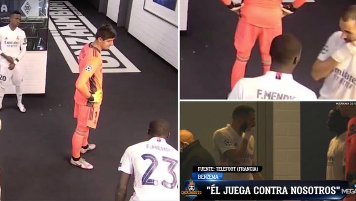 """Benzema falando em francês com Mendy. """"Não passa a bola para ele (Vinícius Júnior)"""""""