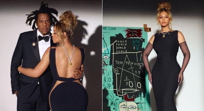 Ao lado de Jay-Z, Beyoncé posa com diamante da Tiffany no pescoço