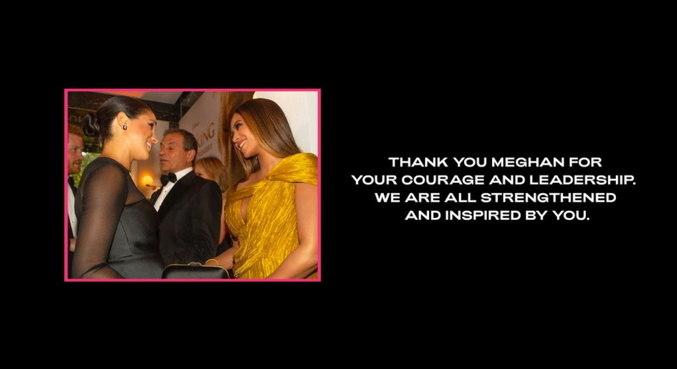 Mensagem para Meghan Markle abre site oficial da cantora Beyoncé
