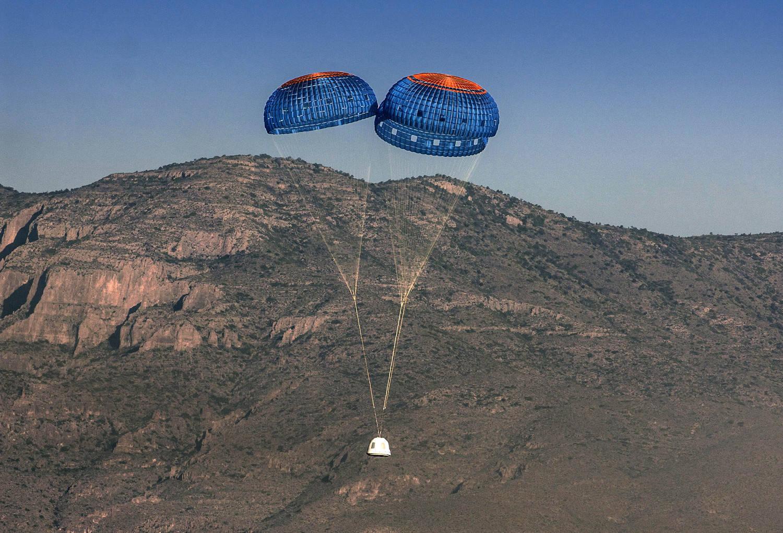 Paraquedas irão diminuir velocidade da nave para pouso no Texas