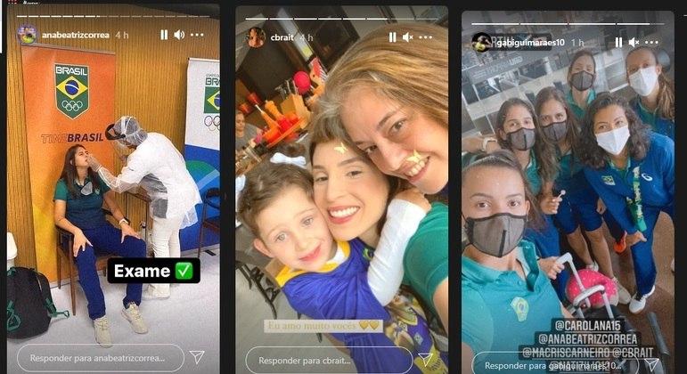 Jogadoras da seleção brasileira embarcam em Guarulhos rumo a Tóquio
