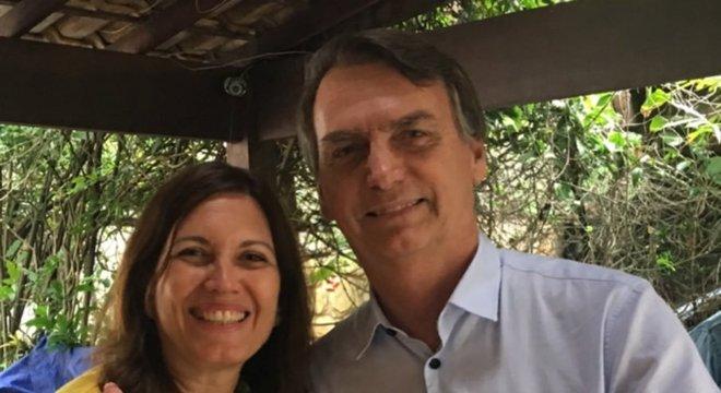 A deputada Bia Kicis (PSL-DF) e o presidente Jair Bolsonaro