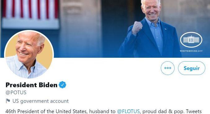 Conta oficial da presidência tem a foto e o nome de Joe Biden