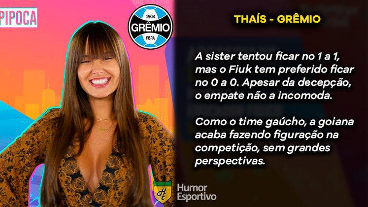 Big Brother Brasil e Brasileirão: Thaís seria o Grêmio