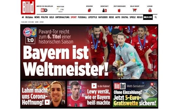 Bild - O jornal alemão 'Bild' destacou o quarto título mundial do Bayern de Munique.