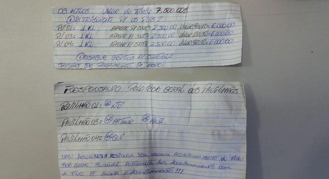 Outros dois bilhetes mostram prestação de contas do tráfico de drogas