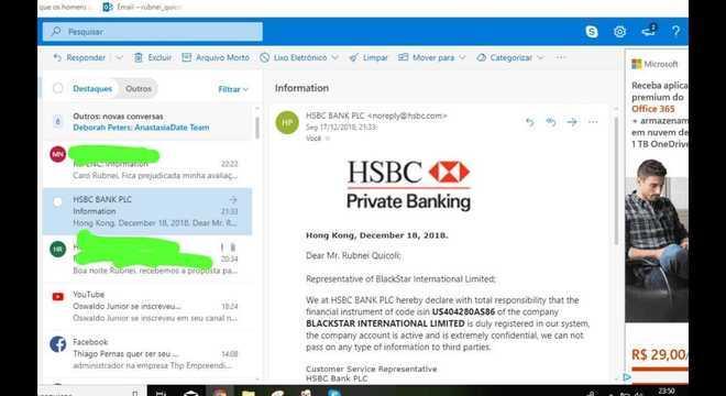 O documento que comprovaria a ligação entre Blackstar e HSBC