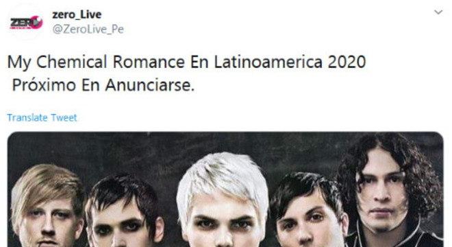 Boato sobre turnê do My Chemical Romance