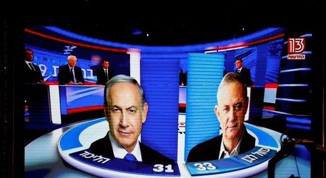 Canal 13 israelense mostra Netanyahu atrás de Benny Gantz na eleição