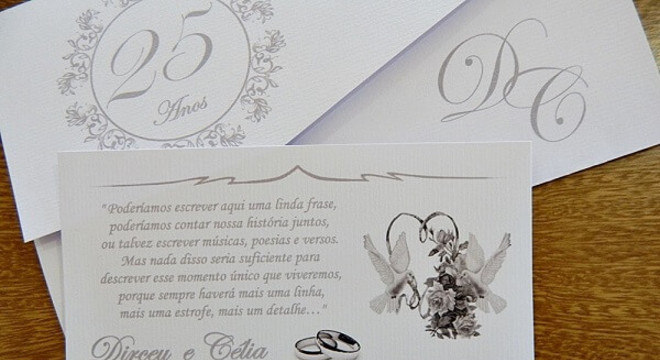 Bodas de prata convite personalizado