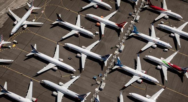 Pátio da Boeing em Seattle ficou lotado de modelos 737 Super Max parados