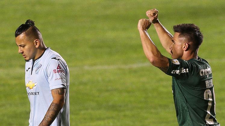 Bolívar-BOL 1 x 2 Palmeiras – estádio Hernando Siles, em La Paz (BOL) – 16/9/2020 – Fase de grupos – Gols: Willian Bigode e Gabriel Menino.