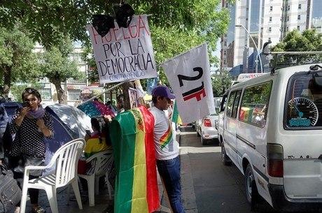 Boliviano protesta contra o presidente Evo Morales