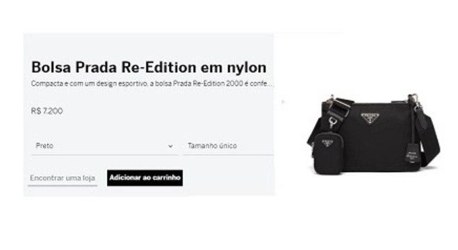 Bolsa está à venda em loja online da grife no Brasil