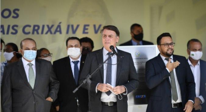 O presidente Jair Bolsonaro, em evento nesta segunda-feira (5)