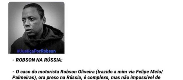 Bolsonaro, nas redes sociais, assumindo o compromisso de tentar ajudar Robson
