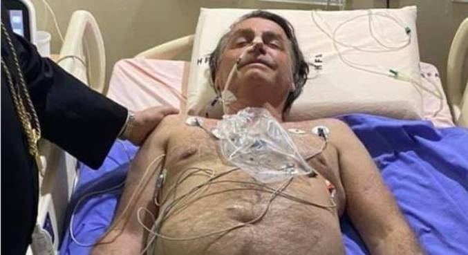Bolsonaro durante internação no Hospital das Forças Armadas, em Brasília