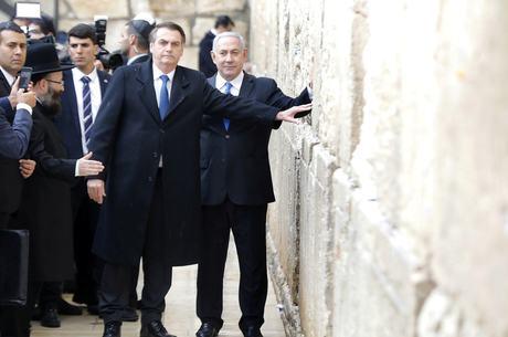 Bolsonaro e Netanyahu no Muro das Lamentações