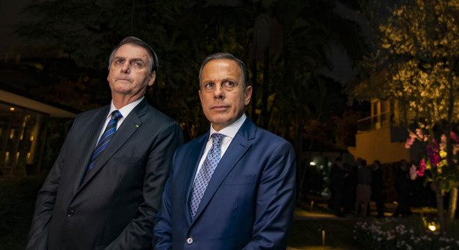 Bolsonaro ao lado de Doria em entrevista coletiva em São Paulo
