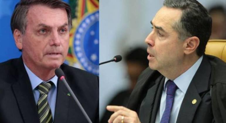 O presidente Bolsonaro e o presidente do TSE, Roberto Barroso: escalada do discurso contra o voto eletrônico abala aliança com o Centrão.