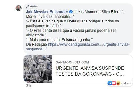 Comentário de Bolsonaro a usuário sobre Coronavac