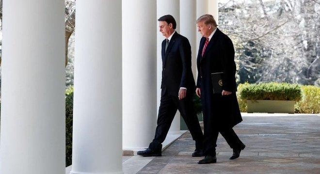 Os presidentes dos EUA e do Brasil pouco antes do comunicado à imprensa