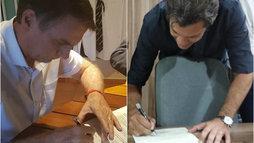 Bolsonaro e Haddad assinam termo de compromisso em respeito à Constituição ()