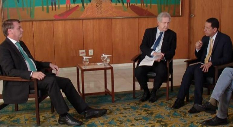 O presidente Jair Bolsonaro durante entrevista ao jornalista Augusto Nunes