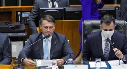 Jair Bolsonaro ao lado de Rodrigo Pacheco