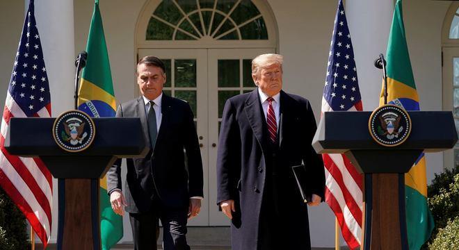Bolsonaro e Trump chegam à entrevista coletiva na Casa Branca