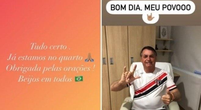 Bolsonaro aparece comemorando no quarto após cirurgia