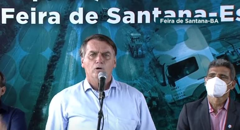 Bolsonaro, em evento em Feira de Santana (BA)