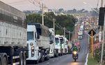 Houve uma fila de caminhoneiros e tratores em volta de Brasília