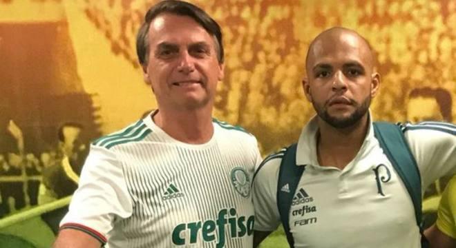 Bolsonaro e Felipe Melo já se encontraram na arena palmeirense