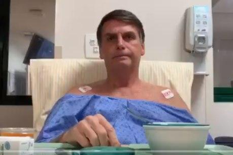 Bolsonaro grava vídeo em hospital onde se recupera