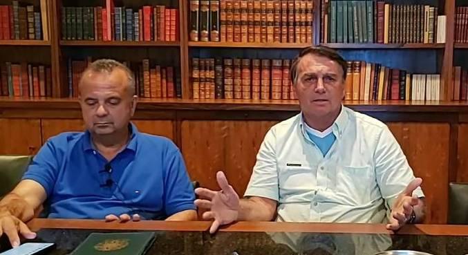 Ministro Rogério Marinho e o presidente Jair Bolsonaro, durante live