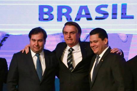 Maia, Bolsonaro e Davi Alcolumbre