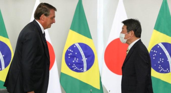 Bolsonaro se encontra com ministro dos Negócios Estrangeiros do Japão, Motegi Toshimitsu