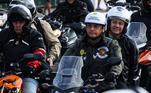 O presidente Jair Bolsonaro participa de 'Motociata' com seu apoiadores na ruas da cidade de São Paulo, neste sábado (12).O trânsito nas avenidas Olavo Fontoura, nos dois sentidos, e Santos Dumont, no sentido centro, está bloqueado