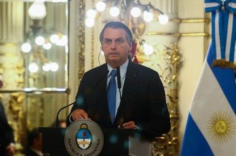 O presidente Jair Bolsonaro durante visita à Argentina