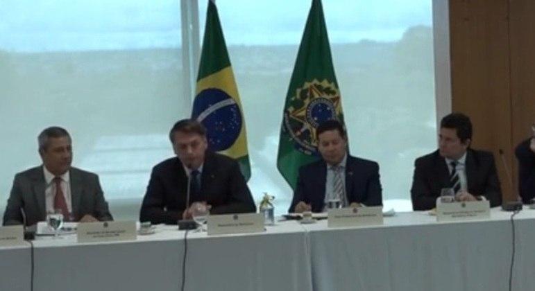 Bolsonaro na reunião ministerial em que disse que iria 'intervir' na superintendência da PF