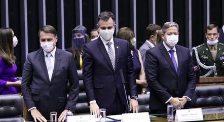 Na imagem, Bolsonaro, Pacheco e Lira