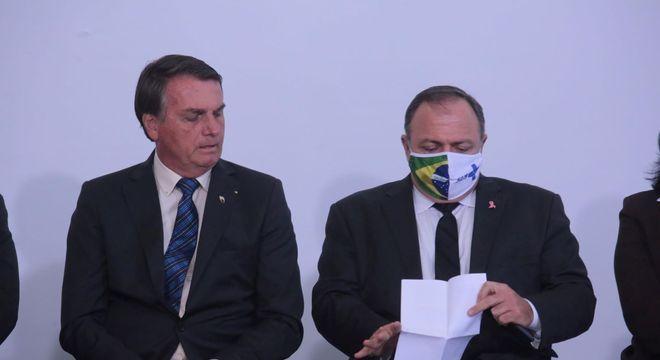 O Presidente Jair Bolsonaro e o Ministro da Saúde, general Eduardo Pazuello