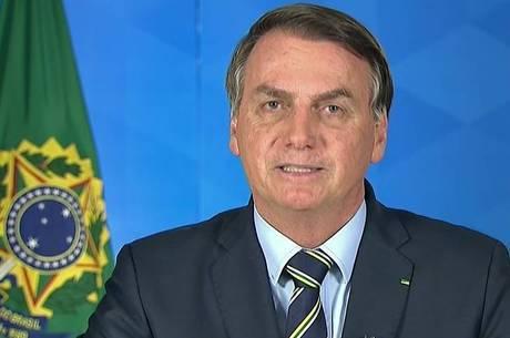 Bolsonaro em pronunciamento na  TV