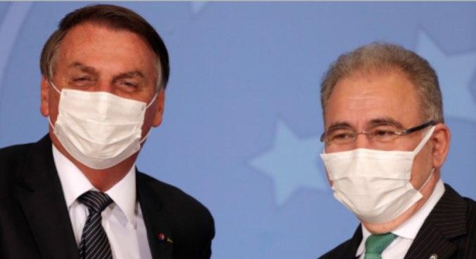 O presidente Jair Bolsonaro e o ministro da Saúde, Marcelo Queiroga