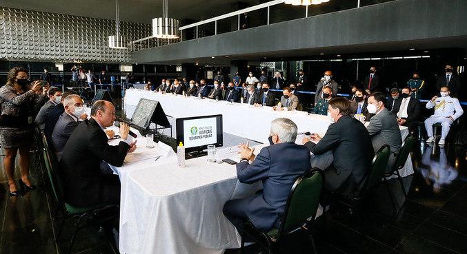 Bolsonaro em reunião com secretários de segurança de estados e do DF